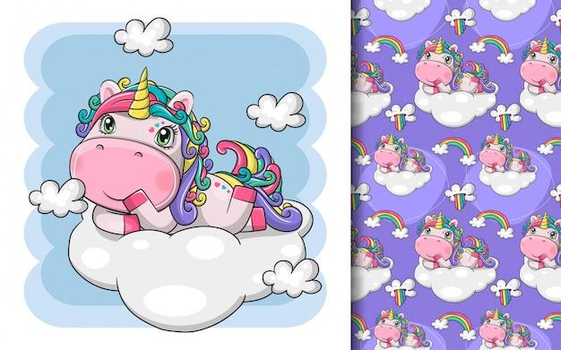Dibujado a mano lindo unicornio mágico con nube y conjunto de patrones
