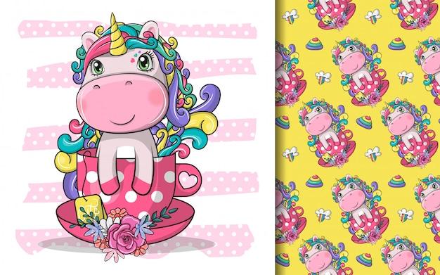 Dibujado a mano lindo unicornio mágico con taza de té y conjunto de patrones
