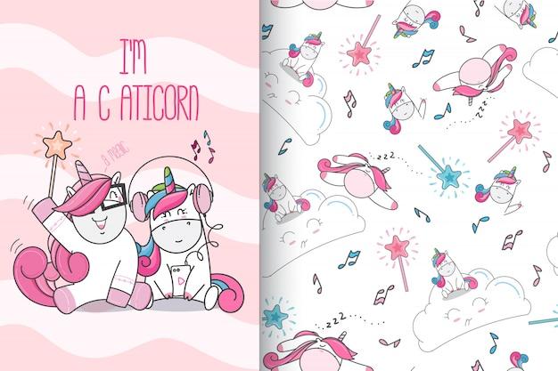 Dibujado a mano lindo unicornio con patrón conjunto-vector
