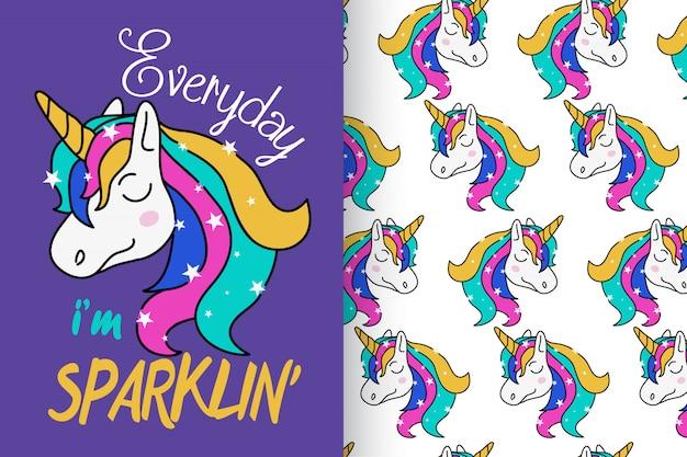 Dibujado a mano lindo unicornio con patrón establecido