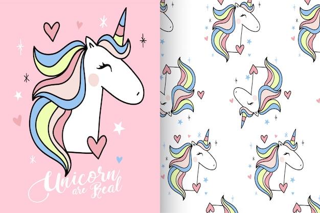 Dibujado a mano lindo unicornio con patrón vector set
