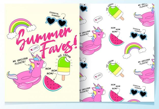 Dibujado a mano lindo unicornio piscina flotador de patrones sin fisuras