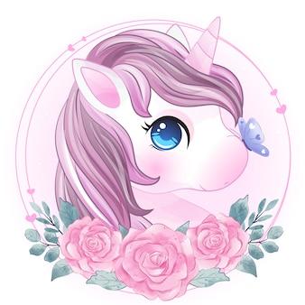 Dibujado a mano lindo unicornio con retrato rosa