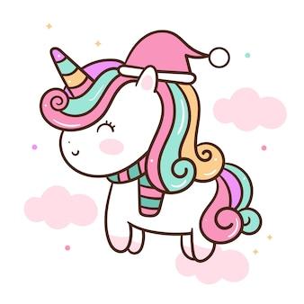 Dibujado a mano lindo unicornio vector usar sombrero de santa