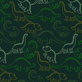 Dibujado a mano lindo vector patrón de dinosaurio