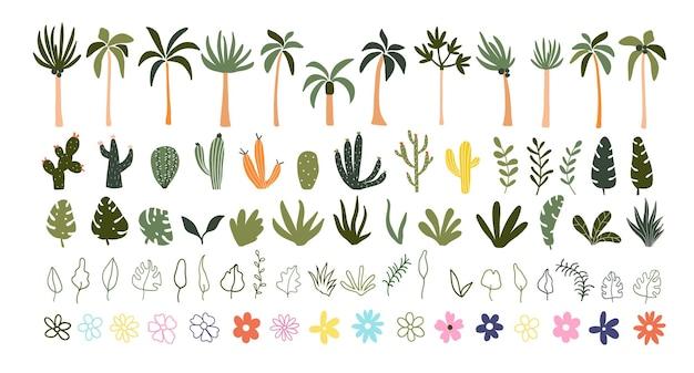 Dibujado a mano lindo verano flores florecientes hojas verdes palmeras tropicales cactus