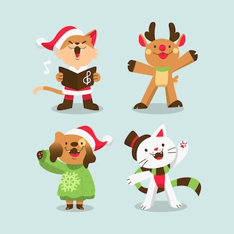 Dibujado a mano lindos animales vestidos de navidad