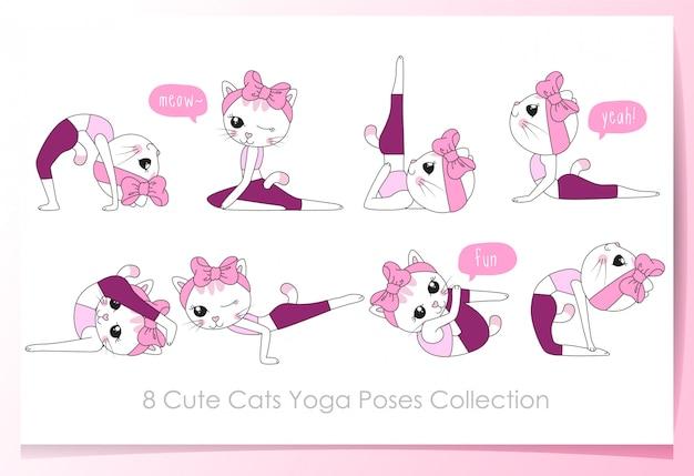 Dibujado a mano lindos gatos con conjunto de pose de yoga