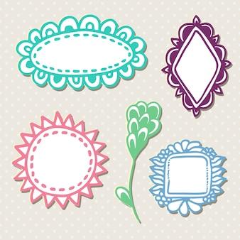Dibujado a mano lindos marcos de doodle. vector con decoración colorida