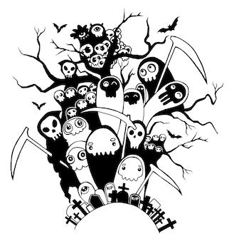 Dibujado a mano lindos personajes esqueleto de la muerte