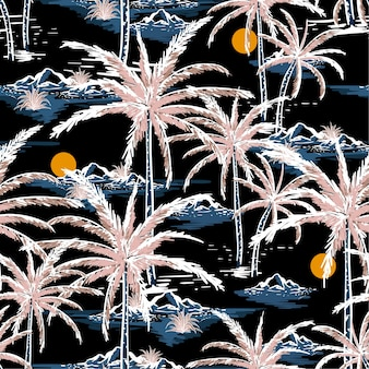 Dibujado a mano y la línea bosquejo verano noche isla patrón