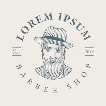 Dibujado a mano logo barbería hombre barbudo