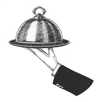 Dibujado a mano mano sosteniendo cloche plata. aislado sobre fondo blanco