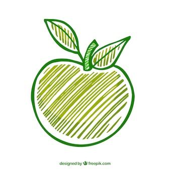 Dibujado a mano manzana verde