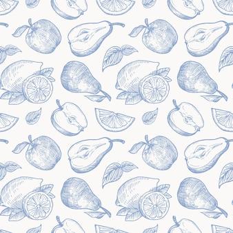 Dibujado a mano manzanas peras y limones cosecha perfecta