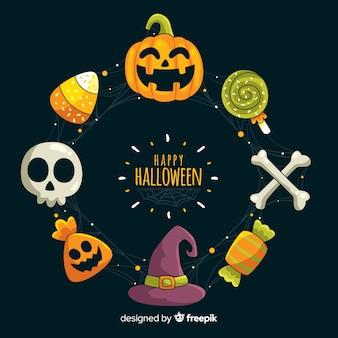 Dibujado a mano marco de brujería de halloween
