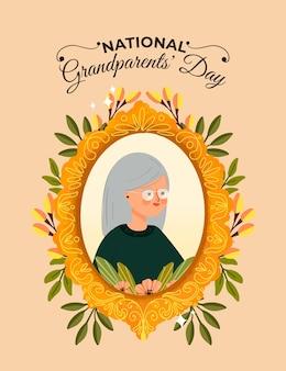 Dibujado a mano marco del día nacional de los abuelos con la abuela