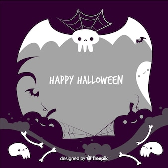 Dibujado a mano marco espeluznante de halloween