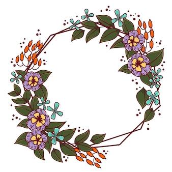 Dibujado a mano marco floral floreciente primavera