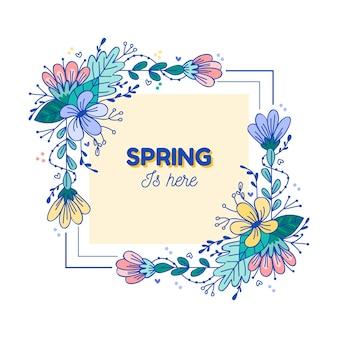 Dibujado a mano marco floral de primavera con flores artísticas