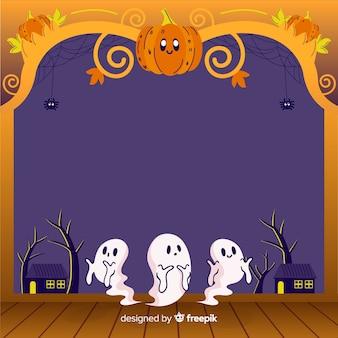 Dibujado a mano marco de halloween con calabaza y fantasmas