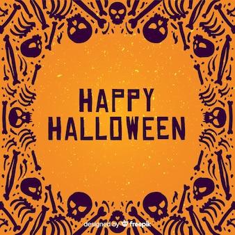 Dibujado a mano marco de halloween con esqueletos