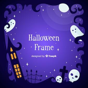 Dibujado a mano marco de halloween con fantasmas