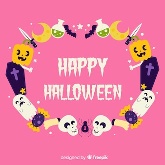 Dibujado a mano marco de halloween con mensaje