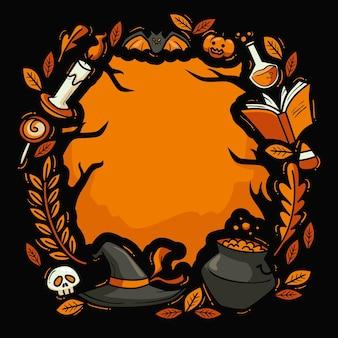Dibujado a mano marco de halloween