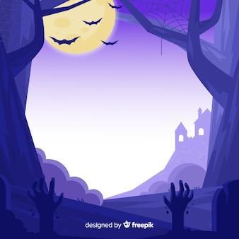 Dibujado a mano de marco púrpura de halloween