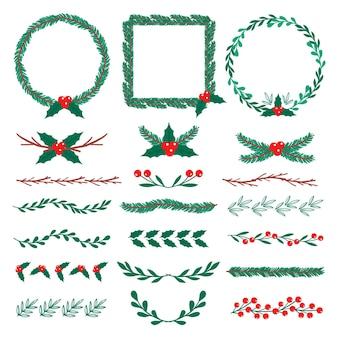 Dibujado a mano marcos y bordes de navidad