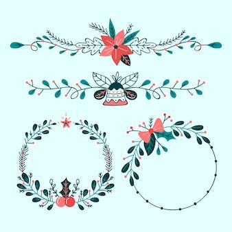 Dibujado a mano marcos y bordes navideños