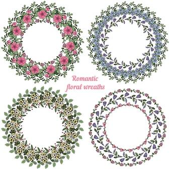 Dibujado a mano marcos florales. coronas de coronas naturales