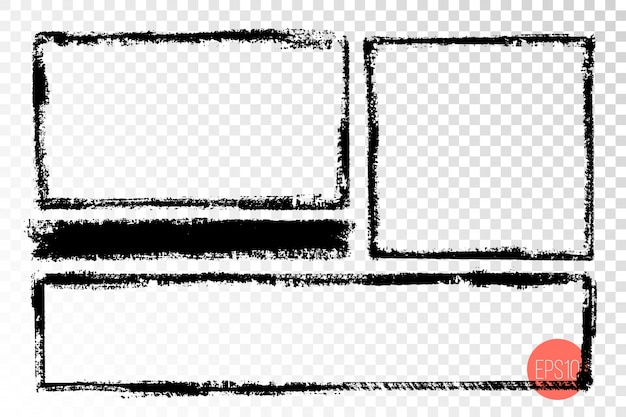 Dibujado a mano marcos grunge forma rectangular