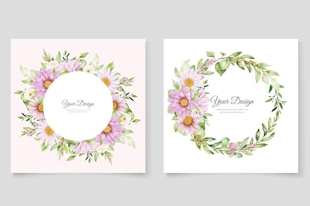 Dibujado a mano margarita acuarela floral y hojas conjunto de tarjeta de invitación