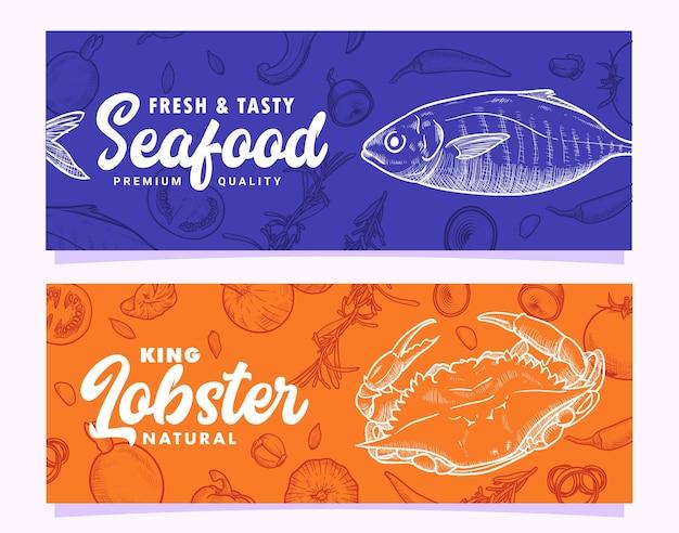 Dibujado a mano mariscos cangrejo rey langosta y pescado ilustración plantilla de banner