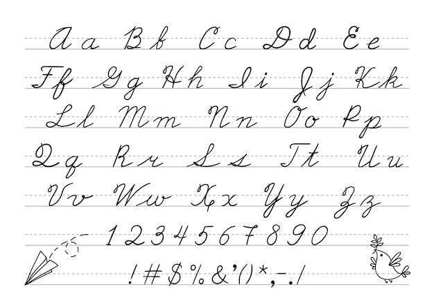 Dibujado a mano en mayúsculas alfabeto caligráfico y número.