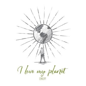 Dibujado a mano me encanta mi bosquejo del concepto de planeta