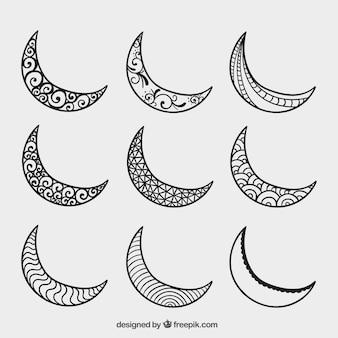 Dibujado a mano medias lunas