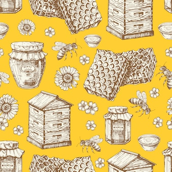 Dibujado a mano miel de patrones sin fisuras con tarros, abejas, flores y colmena
