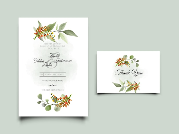 Dibujado a mano minimalista deja tarjeta de invitación de boda