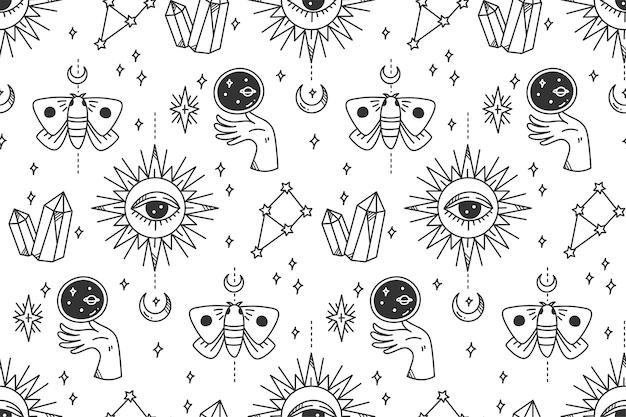 Dibujado a mano mística astronomía de patrones sin fisuras