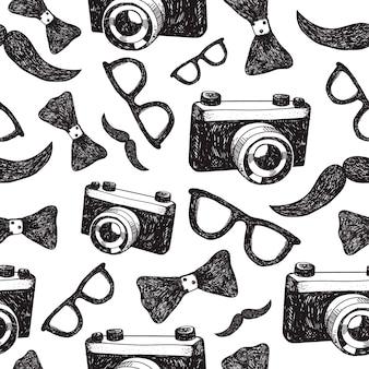 Dibujado a mano moda hipster fondo transparente, patrón.