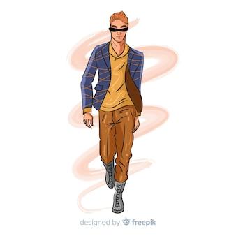 Dibujado a mano moda hombre ilustración