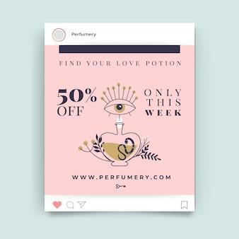 Dibujado a mano moderna publicación de instagram del día de san valentín