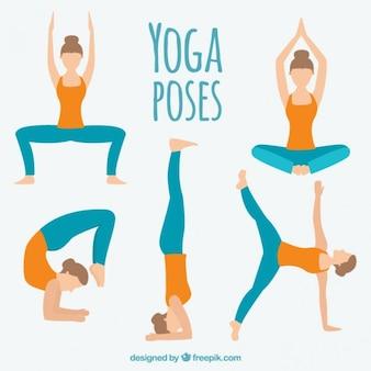 Dibujado mano de la mujer haciendo diferentes posturas de yoga