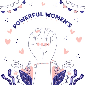 Dibujado a mano mujeres poderosas