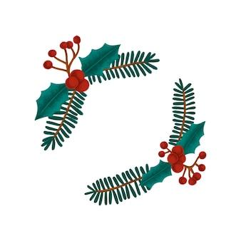 Dibujado a mano de navidad baya de acebo