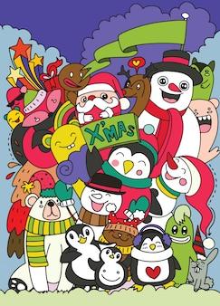 Dibujado a mano navidad juego de caracteres doodle