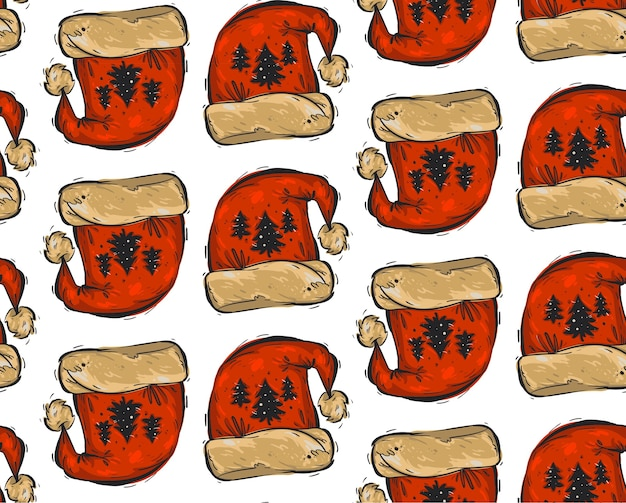 Dibujado a mano navidad de patrones sin fisuras con sombreros rojos de santa claus y árboles de navidad